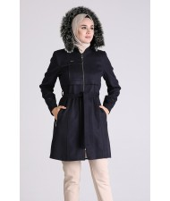 Elegant Short Cashmere Coat Navy blue