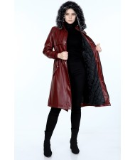 Lined Leather Coat  claret red
