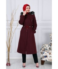 Zipper Cashmere Coats  Claret Red