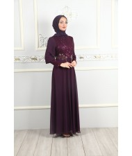 Stone Embroidered Sequined Evening Dress Damson