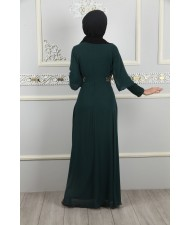 Stone Embroidered Sequined Evening Dress Emerald