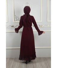 Belt Dress With Pleated Skirt Damson