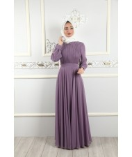 Pleat Detailed Islamic Clothing Evening Dress Lily
