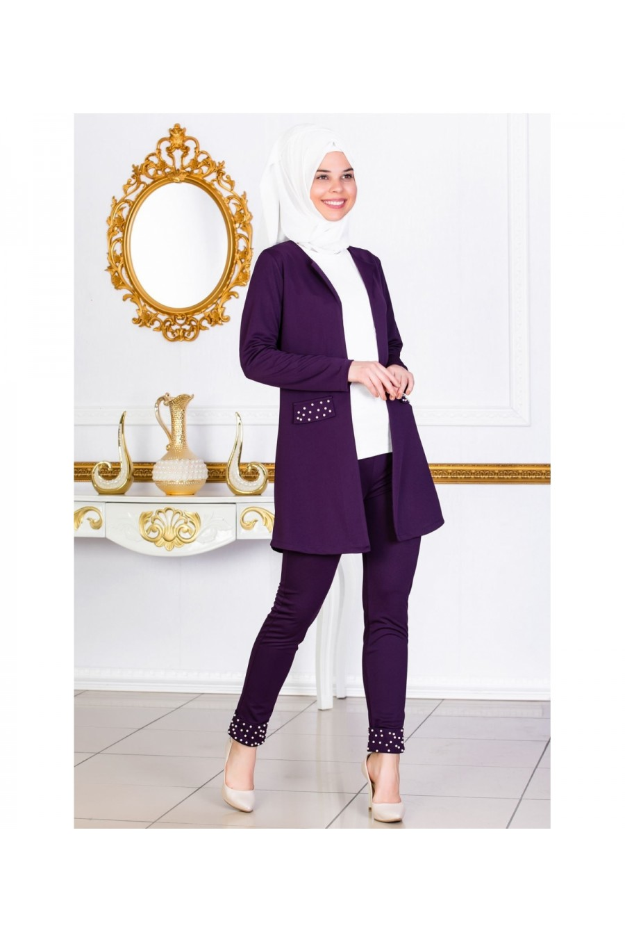 Pearl Pleated Jacket Trousers Double Suit Purple