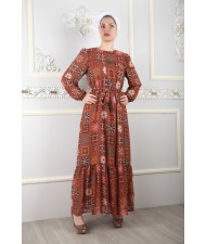 Ethnic Pattern Belt Chiffon Dress Taba SY005